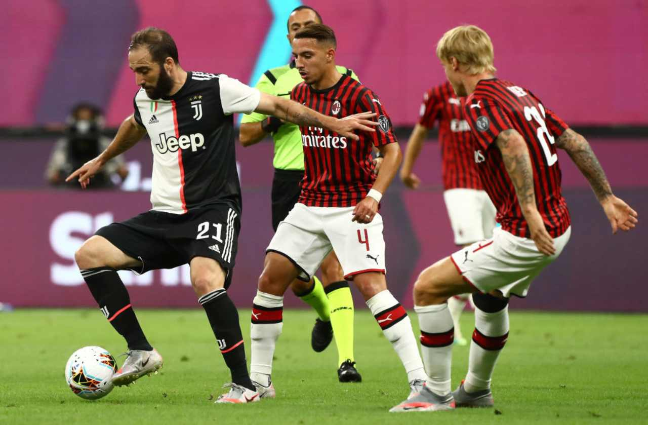 during the Serie A match between AC Milan and Juventus at Stadio Giuseppe Meazza on July 7, 2020 in Milan, Italy.